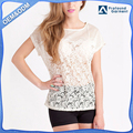 wholesale custom designs fashion bat sleeves summer white batwing lace top women