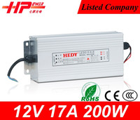 Rainproof Function factory price 12v dc power supply single output constant voltage 17amp 200w led switching power