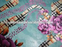 printed silk satin fabric with flower pattern