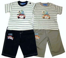 DS027 Baby boy car embr stripe yarn dye t-shirt and trouser for infants