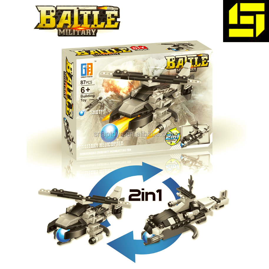 Kids Trasforming Military Helicopter Battle Star World, building block, 2 in 1 educational toys
