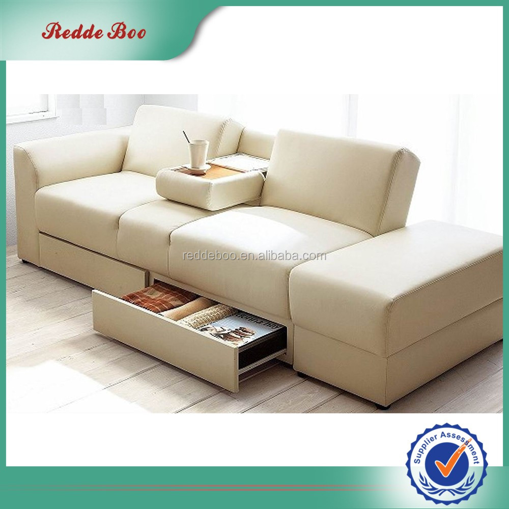 French Style drawing room leather made in china leather sofa with drawer
