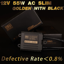 B&G High quality 0.8% Low Defective 12V 55W/AC black slim hid ballast canbus xenon ballast with 18 month warranty