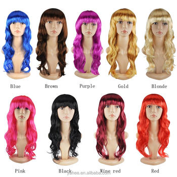 Synthetic Long Wavy Blonde Curly Wig Fancy Women Lady Costume Halloween Party 301212