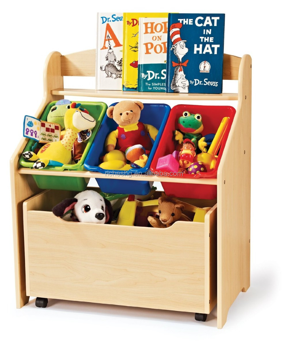 new and popular design wooden toy organizer for kids with 5 plastic