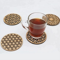 Laser cut blank bamboo coasters for table top decor