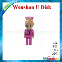 promotional bulk 8gb usb flash drives with full capacity nurse shape usb flash drive