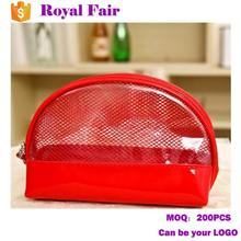 Classic Shell Shape Solid Color Mesh PVC Clear Waterproof Cosmetic Bag