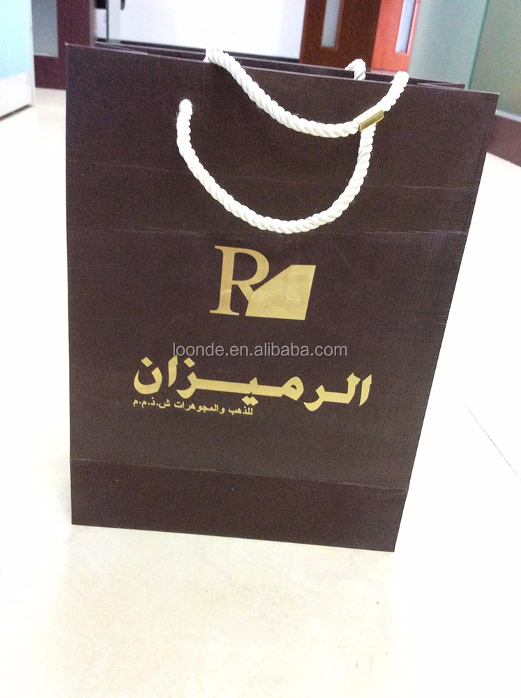 High quality gold foil printed kraft brown paper bag factory