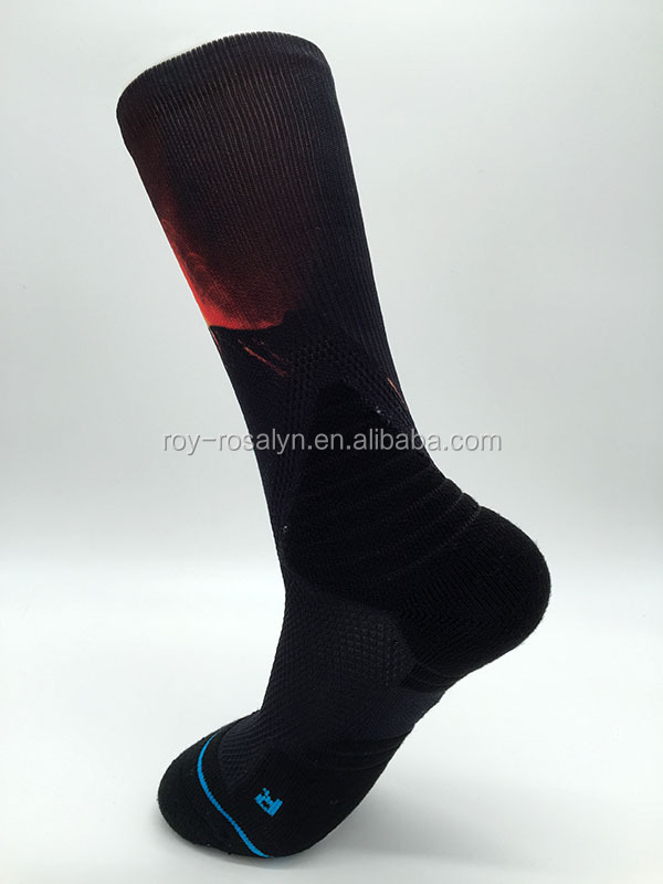 2016 custom selective caushion popular 360 digital printing elite basketball crew socks for sports men