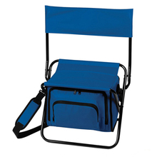 Outdoor camping beach fishing insulated folding chair with cooler bag