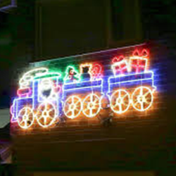 2D 3D Christmas LED Lighted Rope Light Train for Lawn Decoration