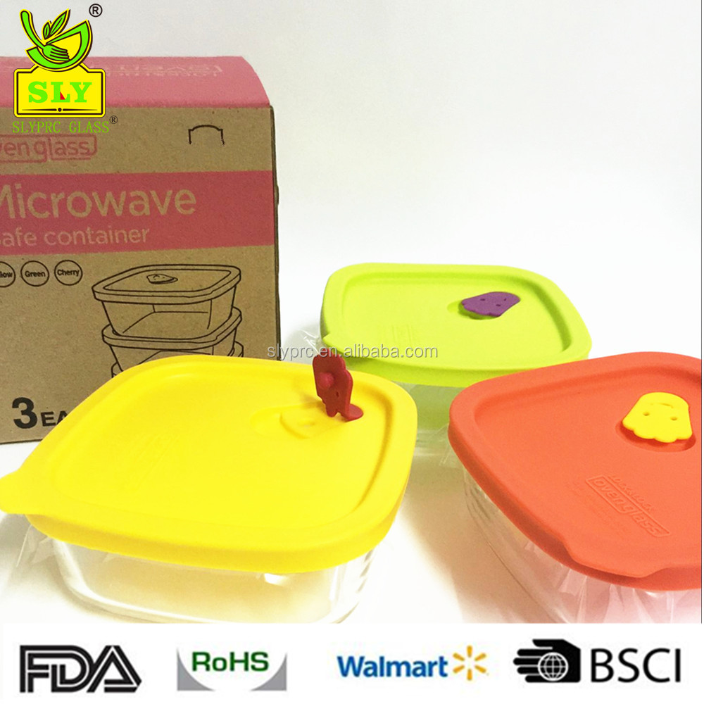 320ml* 3Square Glass Food Container Set/Pyrex Glass Food Container with Silicone Cover