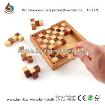wooden game Pentominoes chess puzzle (Black-White)