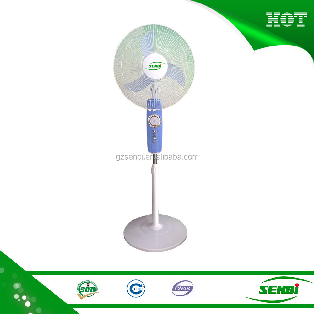 China 12v battery 16 inch rechargeable stand fan light price with USB