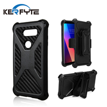 Heavy duty holster belt clip kickstand case for LG V30 cover