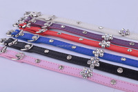 Sweet Flower Studded Puppy Pet Collar Leather Buckle Neck Dog Cat Strap Collars for Dogs leash