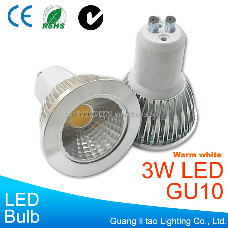 Wholesale 3W GU10 LED spotlight AC85-265V 220V Aluminium MR16 Warm white Light bulb CE & RoHS COB Lamp
