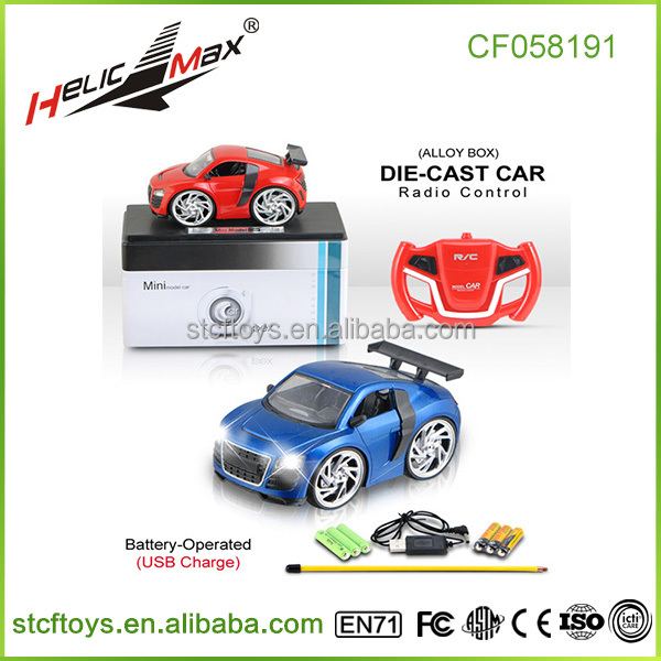 New products 2016 radio control tin box alloy mini car four channel diecast rc car model play car racing games for sale