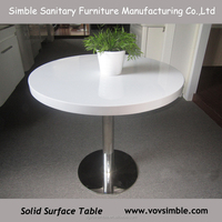 logo customized solid surface top restaurant coffee table sets