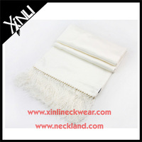 Blank Wholesale Long Fringers White Silk Scarves Wholesale