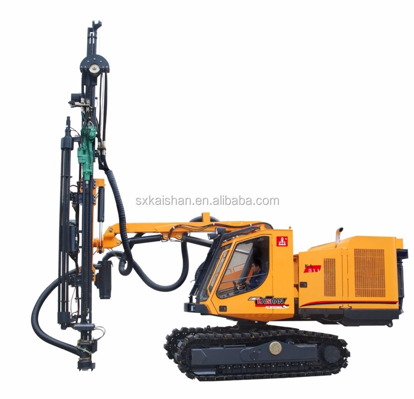 Tophamer Hydraulic Drill Rig KL511 with 180 Degrees Rotation Carriage for 26.5 M2 Area Blast Holes Drilling in One Position