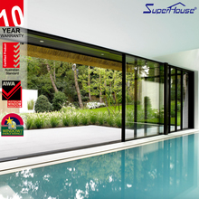 Aluminum 3 panel large sliding glass door with AS2047