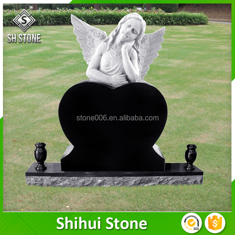 Cheap Angel Monument And Headstone Granite Cemetery With Angel Wings