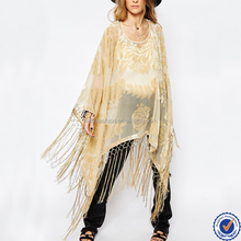 wholesale women fashion design velvet blouse fringed poncho velvet kimono
