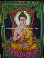LORD BUDDHA ART INDIA HANDICRAFT SEQUENCE WALL HANGING