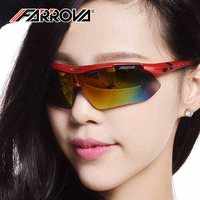Farrova Polarized Uv Sports Glasses for Men or Women , Cycling Wrap Sunglasses with 5 Interchangeable Lenses Unbreaka