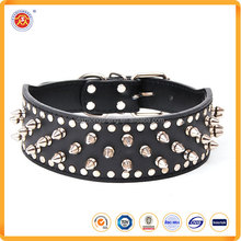 Superior quality personalized large black Spike Dog Collars leather Pet Collars