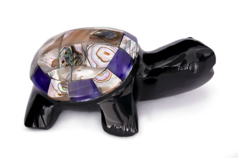 Obsidian turtle with mixed stones