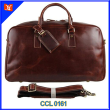 Men's Large Brown Leather Tote Weekender luggage garment bag