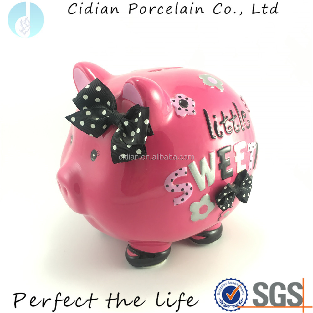 Ceramic money jar pink pig piggy bank with a mini ribbon bow