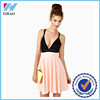 New fashion Yihao women shoulder-straps dress with panelled patchwork deep V-neck backless knee-length women sexy party dresses