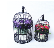 Antique white metal bird cage iron bird cage decoration ,Portal bird cage metal candle holder with leaves and flowers