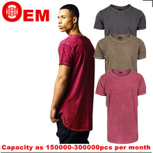 mens thin cotton short sleeve washed longline round hem t sihrt