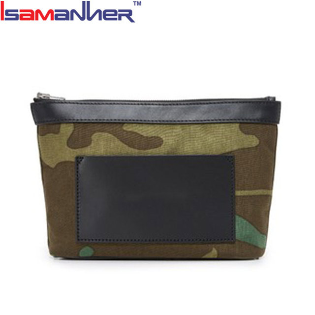 Isamanner new model purses camouflage fabric small clutch bag women