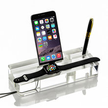 high quality for apple watch and iphone, elegant table charging dual crystal Stand for Apple Watch and iphone