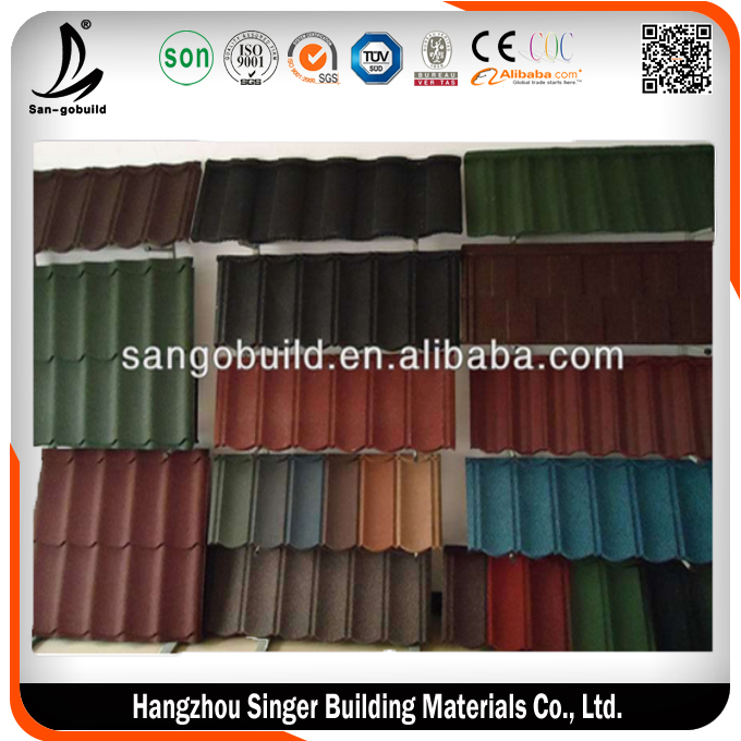 Hangzhou SGS Approved Terracotta Material Double Roman Metal Roof Tile