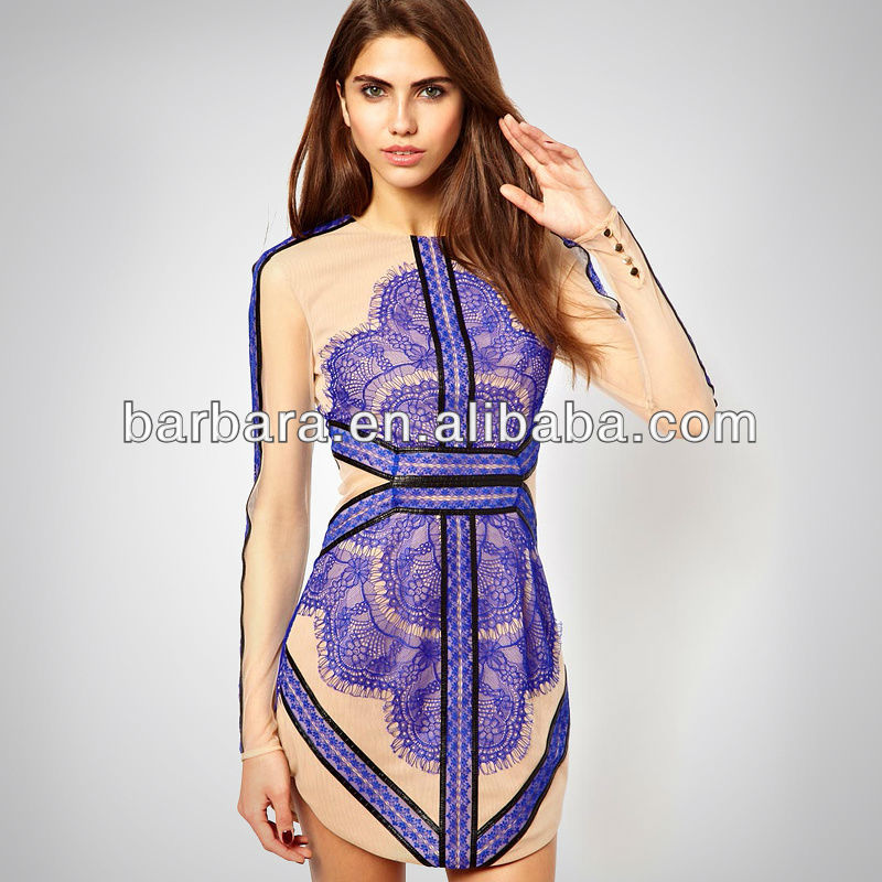 2014 Hot selling sexy long sleeve blue and black eyelash casual dresses