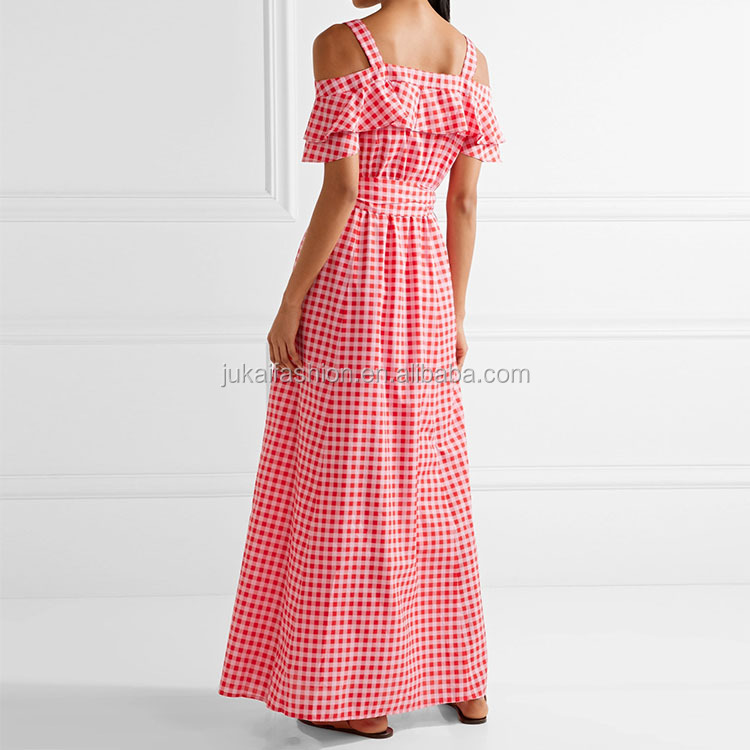 Red And Red Checked Cold Shoulder Maxi Fashion New Design Ladies Clothes