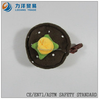 promotional toys/plush fruit and vegetables/black plush cake with plastic hook, Customised toys,CE/ASTM safety stardard