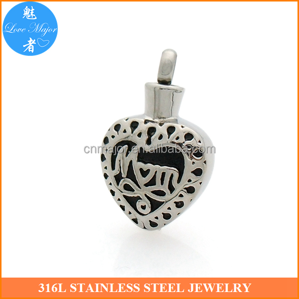 Cremation urn jewelry with dog ashes pendant for mum heart design MJCP-003