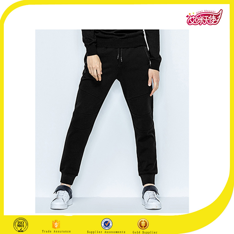 2016 OEM sportswear Men's joggers sports cotton black slim skinny track pants designs with zipper