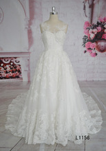 Beading lace with big train floor length ivory bridal gown wedding dress