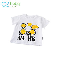 Accept custom flower pattern printed short sleeve baby boy t-shirt 2030