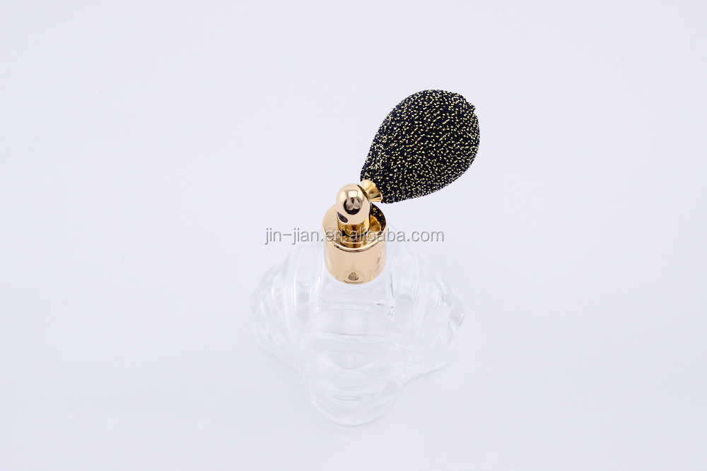 Unique glass perfume bottle with bullet switch glitter fabric head sprayer