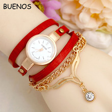 Fashion Simple PU Leather Bands Women Golden Bracelet Watches with Diamond